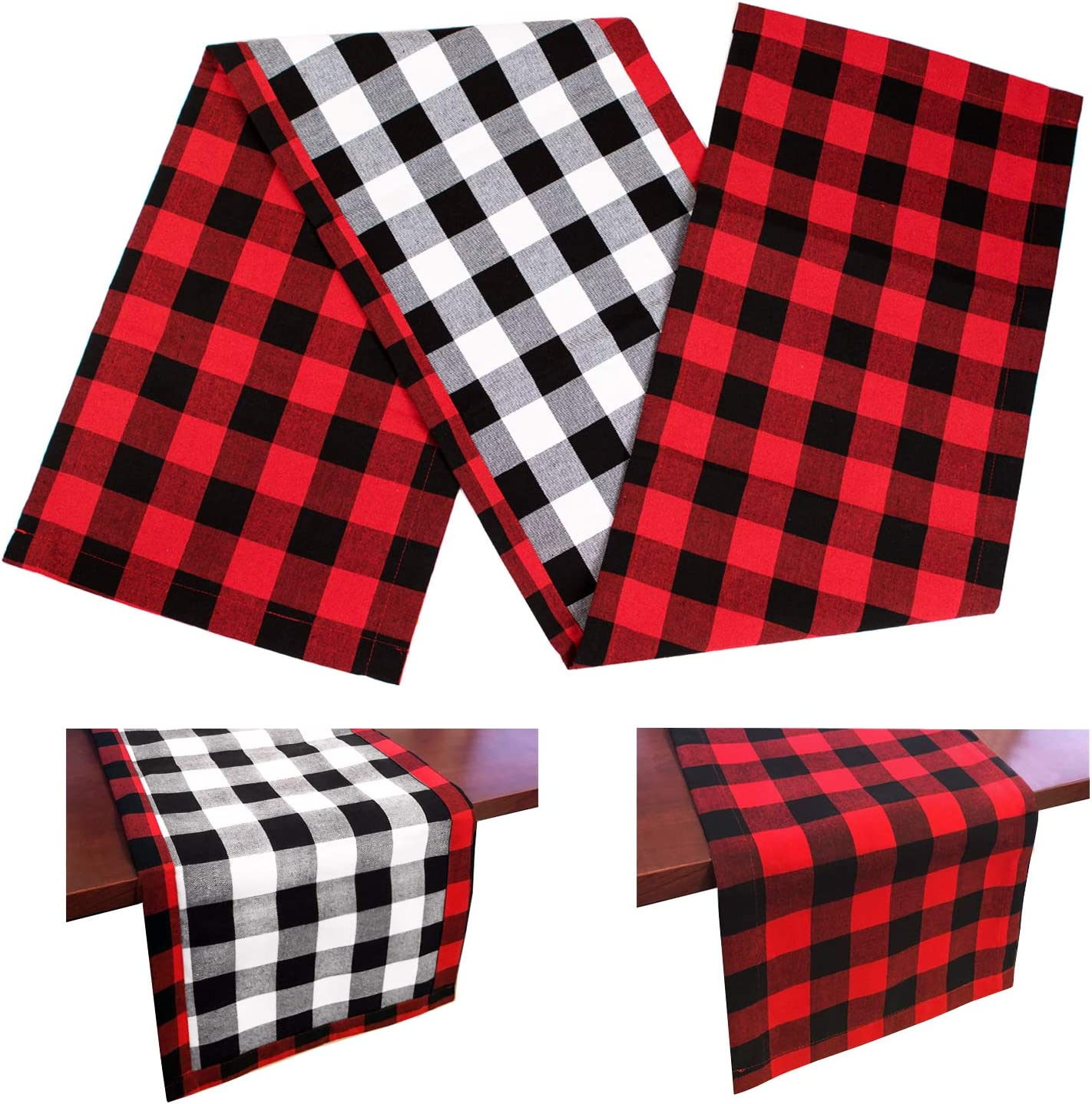 DAPUTOU Christmas Table Inventory cleanup selling sale Runner Red and Check Buffalo Cash special price Black Plaid