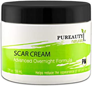 Scar Cream Advanced Night Time Formula - Help Reduce the Appearance of Old and New Scars By Pureauty Naturals