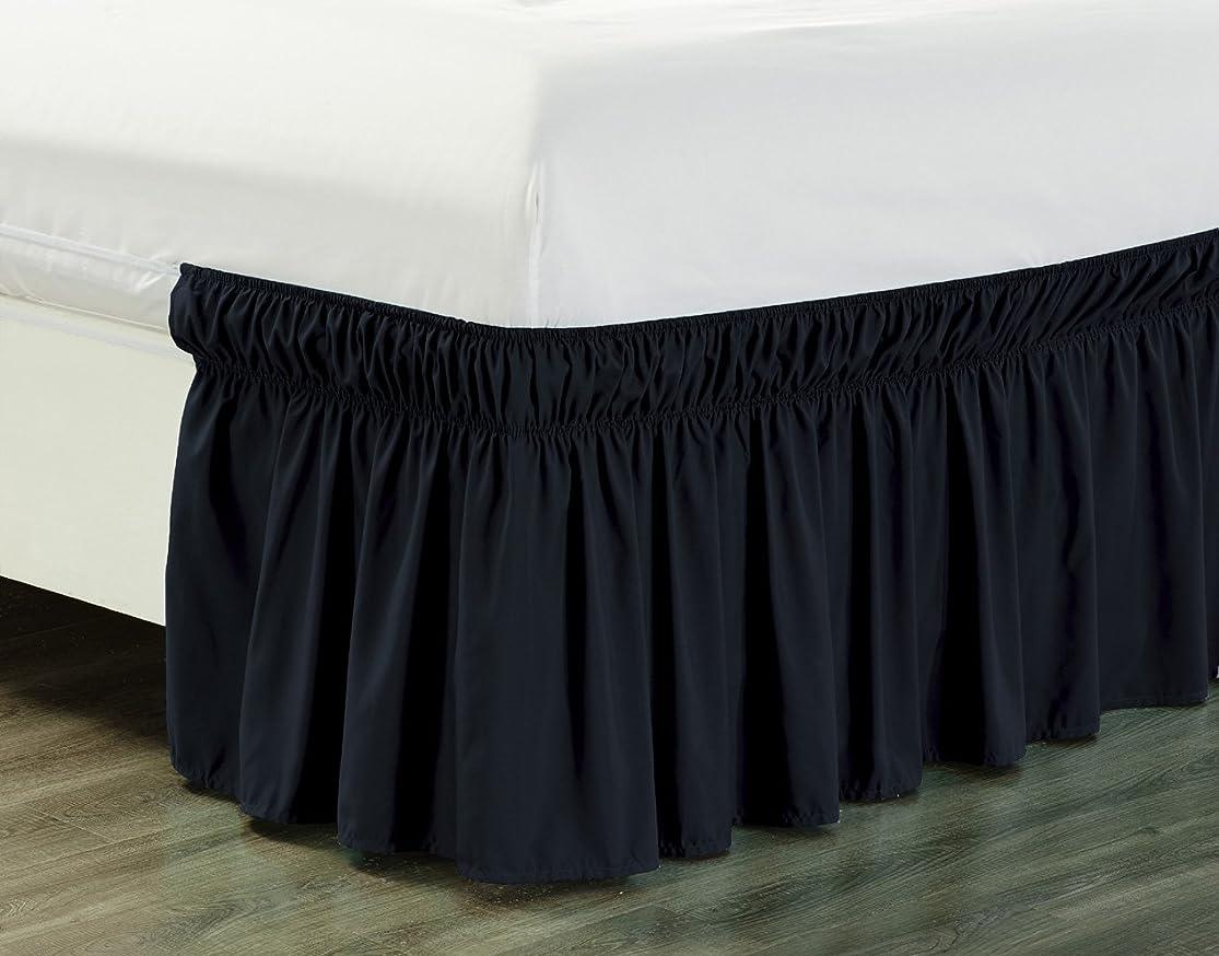 休眠敗北サイクロプス(Queen / King, Black) - Wrap Around 46cm inch fall BLACK Ruffled Elastic Solid Bed Skirt Fits All QUEEN, KING and CAL KING size bedding High Thread Count Microfiber Dust Ruffle, Silky Soft & Wrinkle Free.