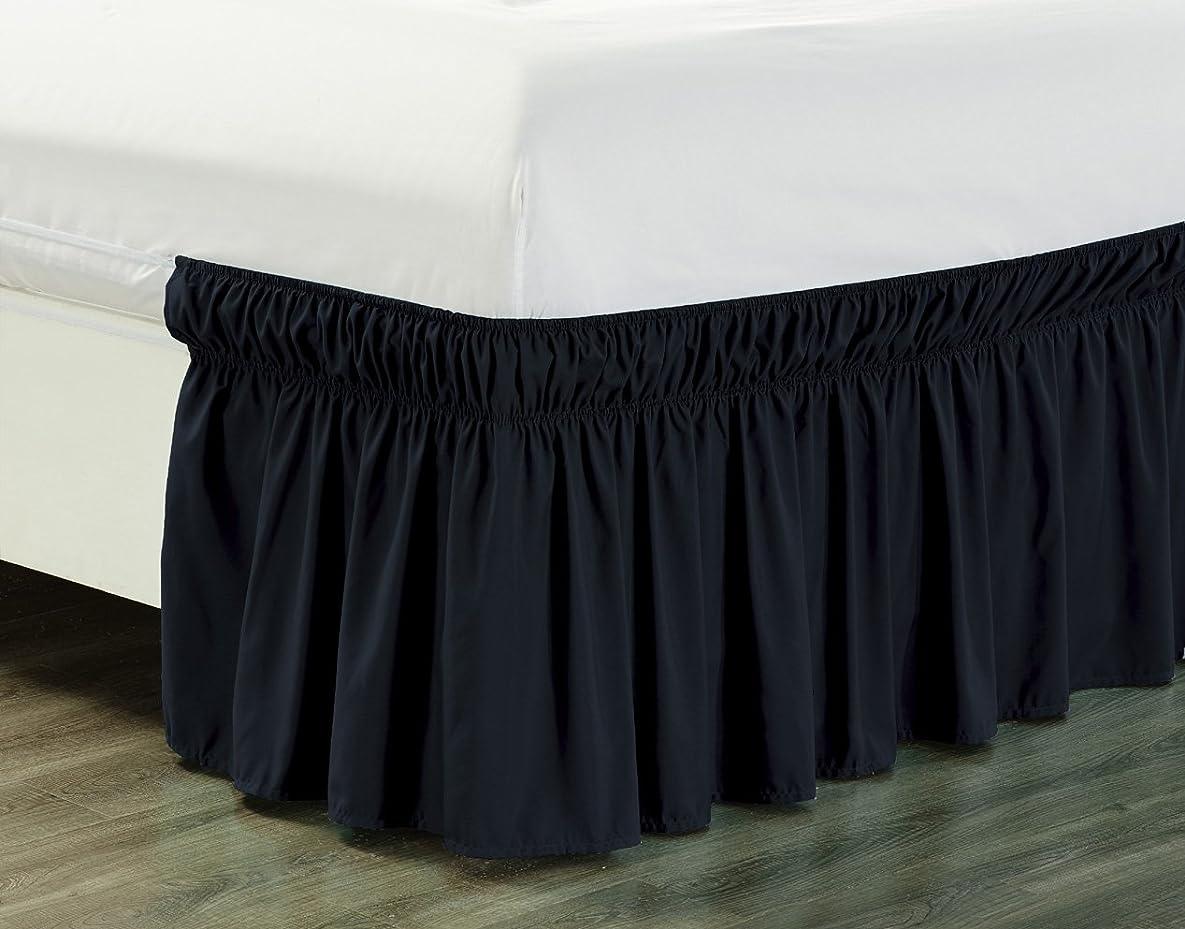 入学する詳細な頭痛(Queen / King, Black) - Wrap Around 46cm inch fall BLACK Ruffled Elastic Solid Bed Skirt Fits All QUEEN, KING and CAL KING size bedding High Thread Count Microfiber Dust Ruffle, Silky Soft & Wrinkle Free.