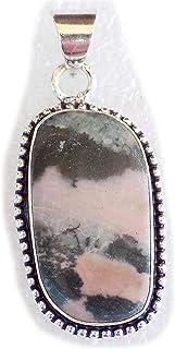Rhodonite Pendant, Silver Plated Brass Pendant, Handmade Pendant, Gift Jewelry, Women Jewellry, Fashion Jewellry, BRS-12354