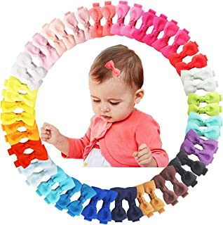 50Pcs 2Inch Mini Hair Clips for Baby Fine Hair Grosgrain Ribbon Hair Bows Clips Fully Lined for Baby Girls Infants Toddler...