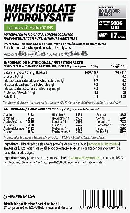 Proteína Hidrolizada Sin Lactosa de HSN | Hydrolysed Whey Protein Isolate | Proteína de Suero Hidrolizado Aislada | Batido para Ganar Masa Muscular, | ...