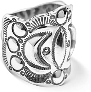American West Sterling Silver Crescent Moon Raised Relief Wide Band Ring Size 7 to 13