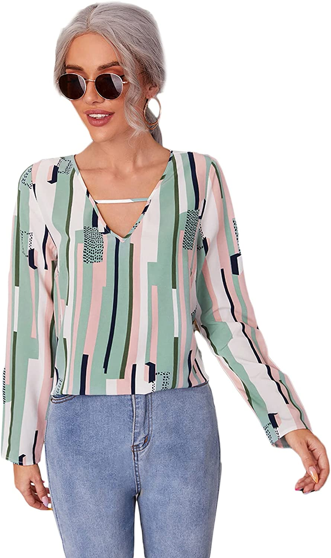 Milumia Women's Casual V Neck Long Sleeve Striped Dalmatian Chiffon Blouse Top