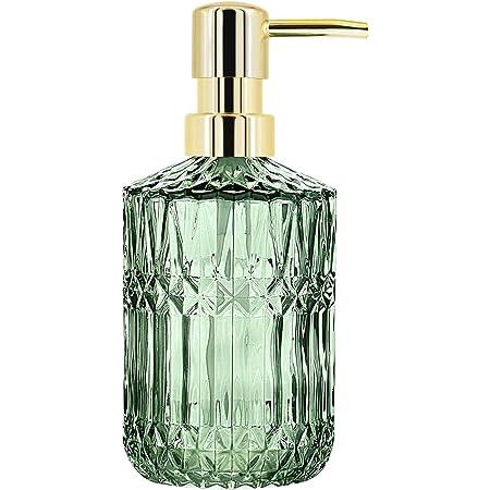 YunNasiソープディスペンサーガラス製シャンプーボトルおしゃれハンドソープ用洗剤用キッチンとバスルーム用 (緑色)