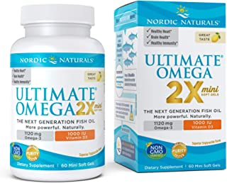 Nordic Naturals Ultimate Omega 2X Mini D3, Lemon Flavor - 1120 mg Omega-3 + 1000 IU Vitamin D3 - 60 Mini Soft Gels - Omega...