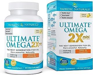 Nordic Naturals Ultimate Omega 2X Mini D3, Lemon Flavor - 1120 mg Omega-3 + 1000 IU Vitamin D3 - 60 Mini Soft Gels - Omega...
