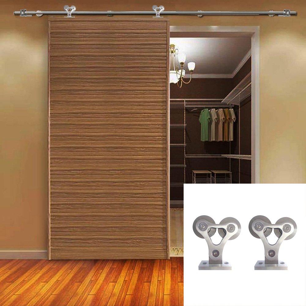 Hahaemall moderna interior acero inoxidable vía única puerta corrediza de granero madera Hardware Kit de rodillo doble rueda rodillo armario puerta de armario: Amazon.es: Bricolaje y herramientas