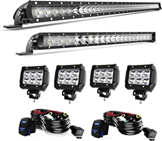 LED Light Bar T-Former 42 Inch + 22 Inch Single Row Roof Bumper Light Bars Combo Kit + 4Pcs 4in LED Fog Driving Lights W/Rocker Switch Wiring Harness Kits for Jeep Ford Trucks Boat Off Road Lights