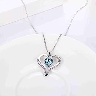 Sllaiss Blue Heart Infinity Love Necklace Made with Swarovski Crystals I Love You Go To The Moon And Back Heart Pendant fo...