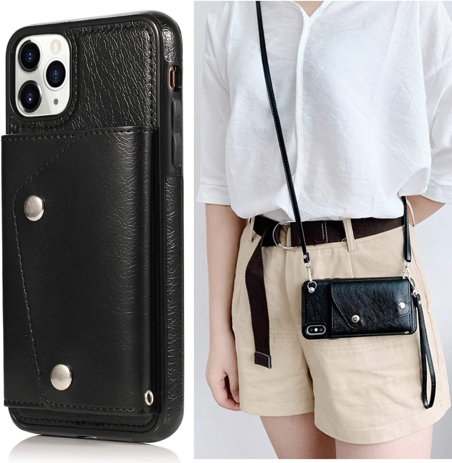 LUVI for iPhone 11 Pro Card Holder Case with Neck Strap Crossbody Chain Handbag Wrist Strap Protective Cover with Credit Card Holder Slot PU Leather Wallet Case for iPhone 11 Pro Black