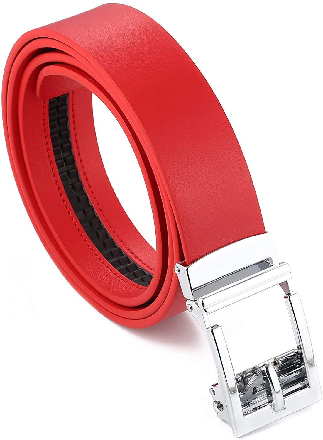 Gelante Genuine Leather Ratchet Dress Belt With Automatic Sliding Buckle - Minimalistic Style-Trim to Fit