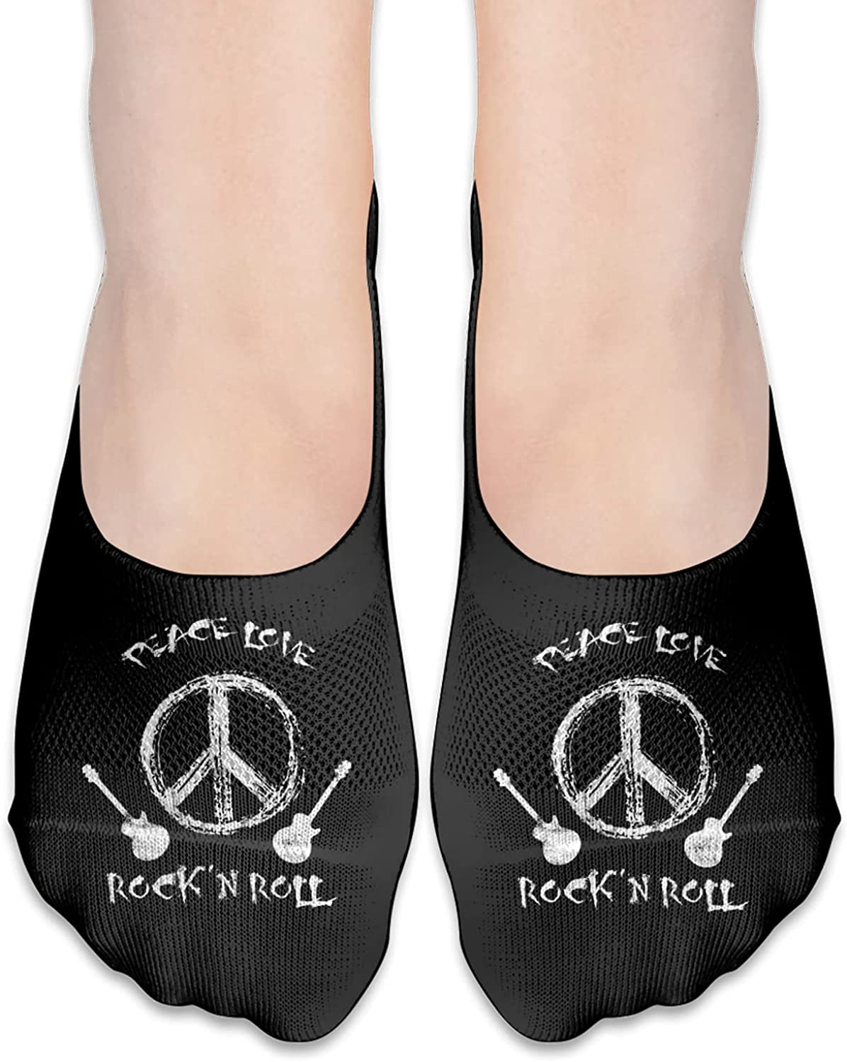 Peace Love And Rock And Roll Unisex Adult Breathable Liner Socks Non Slip No Show Ankle Socks Low Cut Invisible Socks