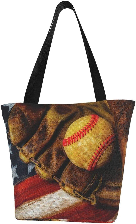 Old American Flag Patriot Wooden Baseball Themed Printed Women Canvas Handbag Zipper Shoulder Bag Work Booksbag Tote Purse Leisure Hobo Bag For Shopping