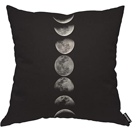 Amazon Com Sco O Black Phases Of The Moon Throw Pillow Pillowcase Cushion Covers For 18inch For Sofa Bed Car Garden Home Kitchen