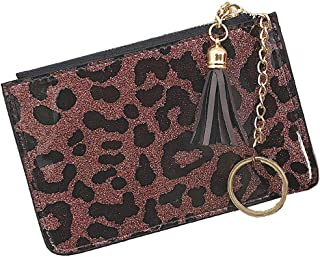 AnnabelZ Coin Purse Change Wallet Pouch Bling Card Holder with Key Chain Zip