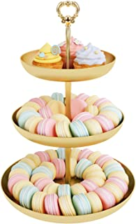 Eroomtrend Mini Cupcake Stand 3 Tier Gold Round Dessert Stand, Cake Fruit Cupcake Tower Tree Display for Graduation Wedding Tea Party Decorations