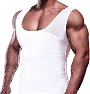 GKVK Mens Slimming Body Shaper Vest Chest Compression Shirt Abs Abdomen Slim Tank Top Undershirt
