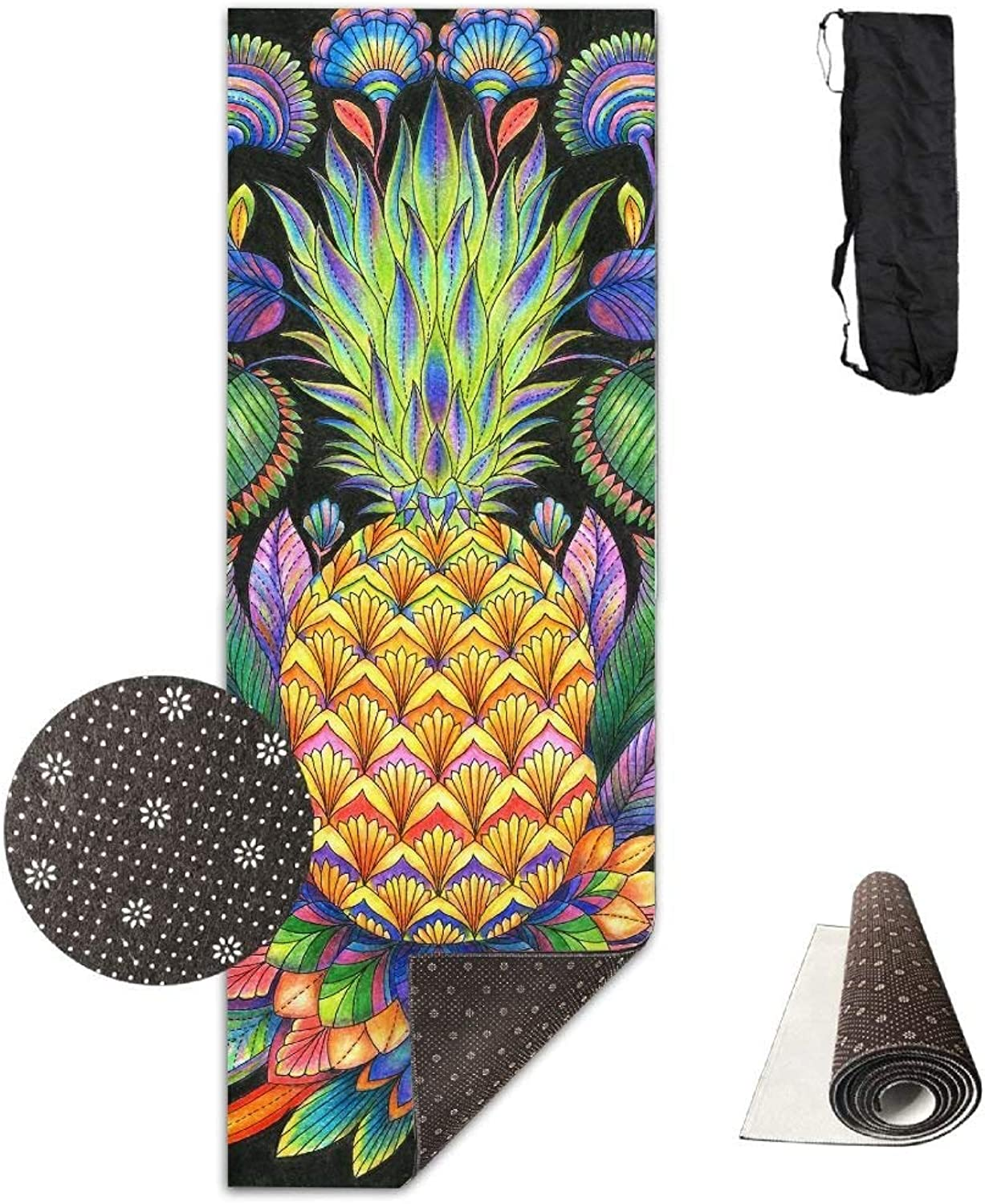 Pineapple Tattoo Yoga Mat Towel for Bikram Hot Yoga, Yoga and Pilates, Paddle Board Yoga, Sports, Exercise, Fitness Towel