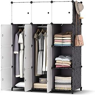 HOMIDEC Armoire Penderie 12 Cube Portable Étagère de Rangement Garde-Robe de Rangement avec 2 Tige Suspendue pour Vêtement...