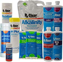Rx Clear Deluxe Spring Chemical Opening Pool Cleaning Kit | for Swimming Pools Up to 7,500 Gallons | Includes Shock, Clarifier, pH Minus, Algaecide and More | Keep Your Pool Clean and Clear