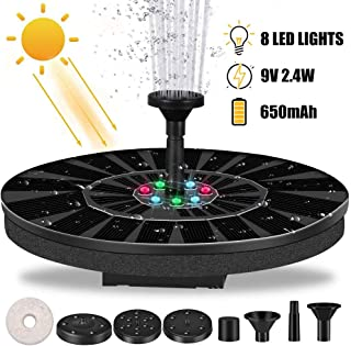 Solar Fountain Pump with LED Lights,9V 2.4W Solar Water Pump Fountain Battery Backup, Solar Fountain 6-in-1 Nozzle for Water Garden & Pond Pumps (Life: =10000Hrs)