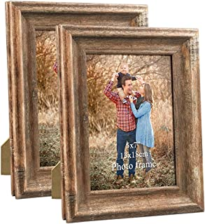 Dreamyard 2-Pack 5x7 Picture Frames Set Vintage Brown Wood Family Art Photo Frame for Tabletop Stand or Wall Hanging