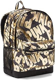 Victoria 's Secret PINK Campus Backpack Bling Black Gold Foil Zipper School Bag