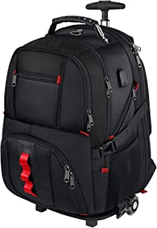 Rolling Backpack,Large Laptop Backpack with Removable Wheels for Men Women,17 inch Wheeled Roller Computer Rucksack for Travel Business College School,Gifts for Men Women Boyfriend Girlfriend,Black