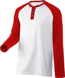 Men Casual Henley 3 Button Shirt Long Raglan Sleeve Slim Fit Athletic Contrast Color Vintage T-Shirt Cotton Small Big Sizes