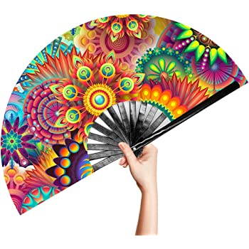 OMyTea Large Bamboo Rave Festival Folding Hand Fan for Men/Women - Chinese Japanese Handheld Fan with Fabric Case - for Electronic Dance Music Party, Performance, Decorations, Gift (Fantasy Flowers)