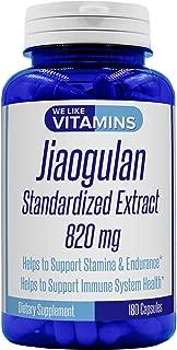 JIAOGULAN 820mg 180 Capsules (Non GMO & Gluten Free) - 90 Day Supply of JIAOGULAN Capsules - Gynostemma Pentaphyllum The Amazing Adaptogen and AMPK activator Standardized