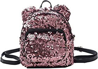 Wultia - Backpack Fashion Lady Cartoon Sequins School Backpack Travel Satchel Girls Student Panelled Zipper Backpack Mochila Pink