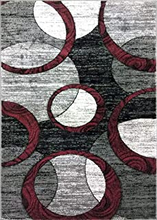 ADGO Atlantic Collection Modern Contemporary Abstract Geometric Circles Squares Swirls Living Dining Room Area Rug (5' x 7', AK10 - Bordeaux Grey)