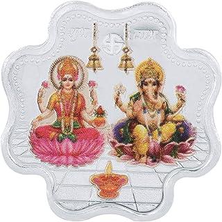 Kundan Jewellers Pvt Ltd BIS Hallamarked 999(99.9%) purity silver flower shape coin Ganpatiji+Laxmiji and Peacock or desig...