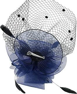 Urban CoCo Women's Bow Feather Net Veil Fascinator Hair Clip Bridal Hat