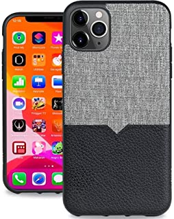 Evutec Case Compatible with iPhone 11 Pro Max, Unique Heavy Duty Case Northill Premium Leather+TPU Shock Proof Interior Protective Durable Stylish Phone Cover-Canvas/Black (AFIX+ Vent Mount Included)