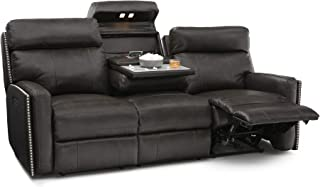 Seatcraft Lombardo Home Theater Multimedia Leather Sofa with Power Recline, Headrests, Fold Down Table, and USB Charging (Gray)