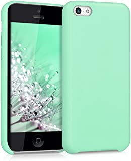 kwmobile Case for Apple iPhone 5C - Soft Durable Shockproof Premium PU Leather Smartphone Back Cover - Mint