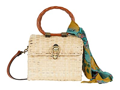 Patricia Nash Montisi Small Oval Wicker Satchel (Natural/Tan/BG Scarf) Bags
