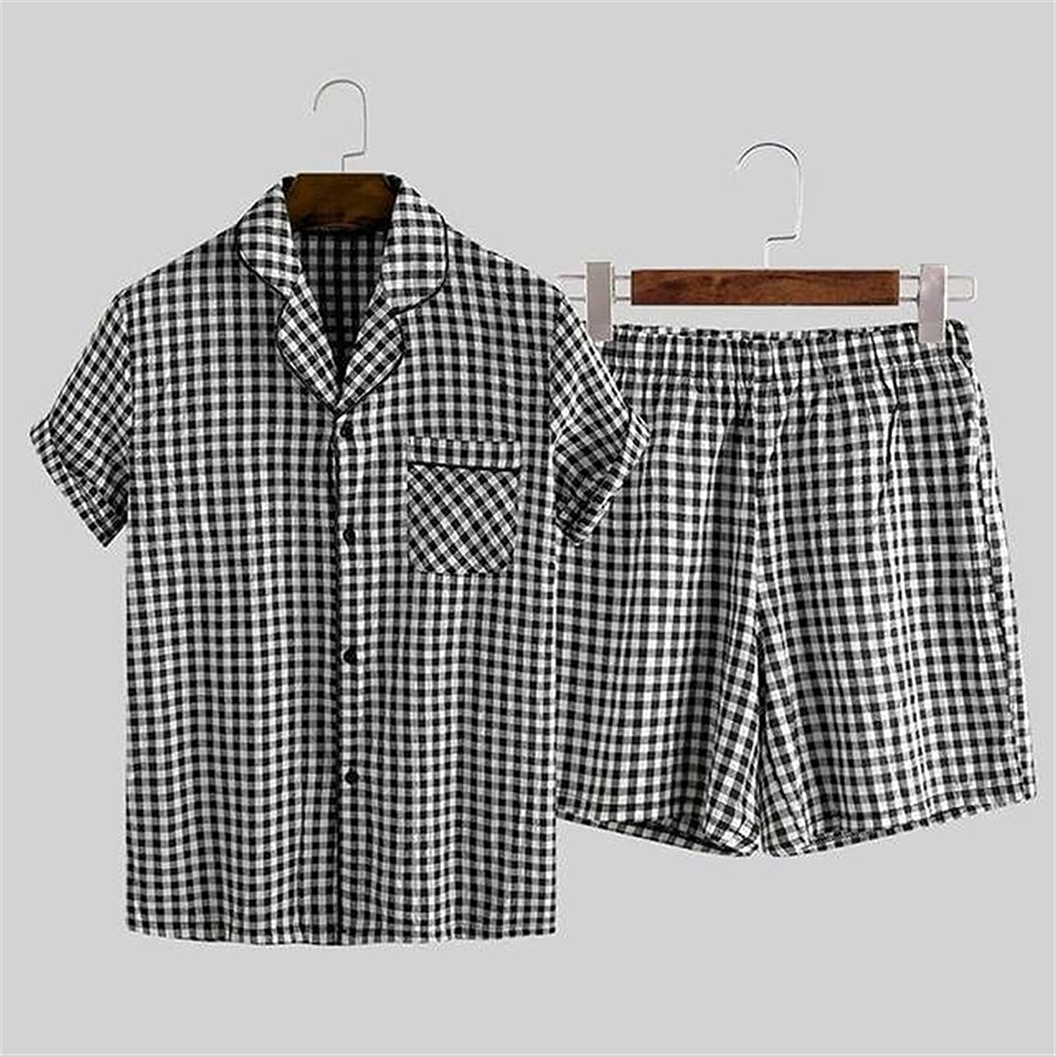 XJYWJ Mens Pajamas Sets Plaid Lapel outlet Button Sleeve Short S Cotton Animer and price revision
