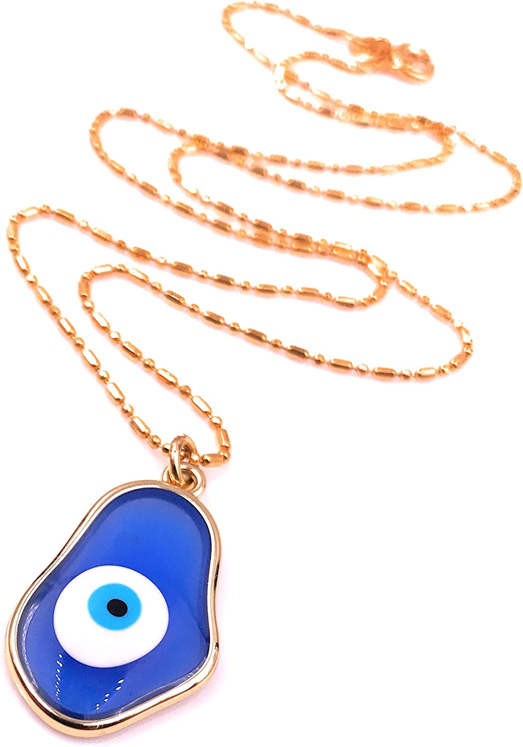 Mava Art Evil Eye Blue Glass Pendant Necklace for Women 18K Gold Plated Chain Protection Jewelry