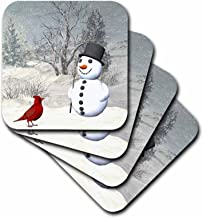 3dRose CST_18581_2 Cardinal and Snowman in Winter Soft Coasters, Set of 8