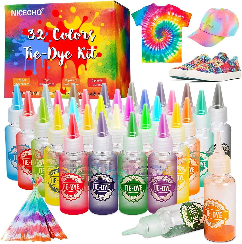 Tie Dye Kit 32 Colors OFFicial shop DIY All-in-1 shopping Set Kids Fabric for
