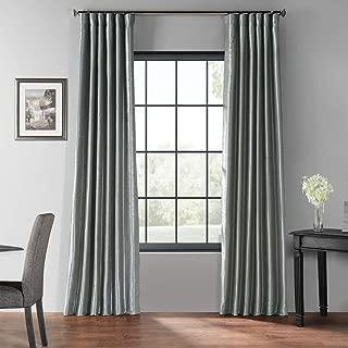 PDCH-KBS7BO-108 Blackout Vintage Textured Faux Dupioni Curtain, Storm Grey, 50 X 108