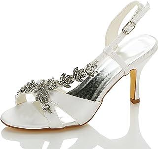JIA JIA Scarpe da Sposa da Donna 1415A Open Toe Mid Heel Sandali Satinati Strass Scarpe da Sposa