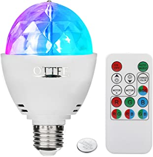 OTTFF 3W E27 Disco Ball Lamp RGB Rotating LED Sound Activated Strobe Lights Party Bulb..