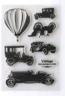 MaGuo Vintage Tansportation Clear Stamps Cars Motorcycles Hot Air Balloon for Card Making Paper Craft DIY Scrapbooking