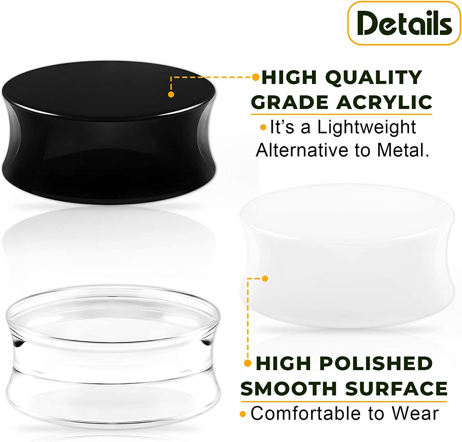 BIG GAUGES 3 Pairs Clear Acrylic Black & White Double Flared Solid Piercing Jewelry Ear Stretcher Plugs Flesh Earring Lobe